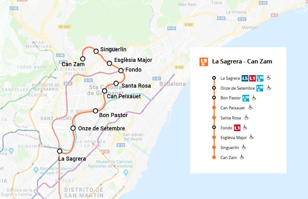 Linea 9 Nord Naranja Metro De Barcelona Metrodebarcelona Com