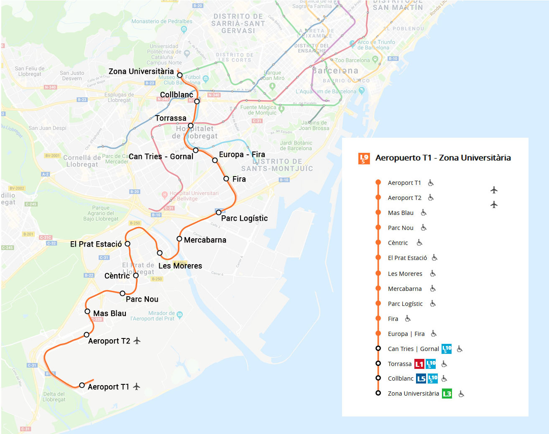 Mapa Metro De Barcelona Actualizado.Linea 9 Sud Naranja Metro De Barcelona 2019
