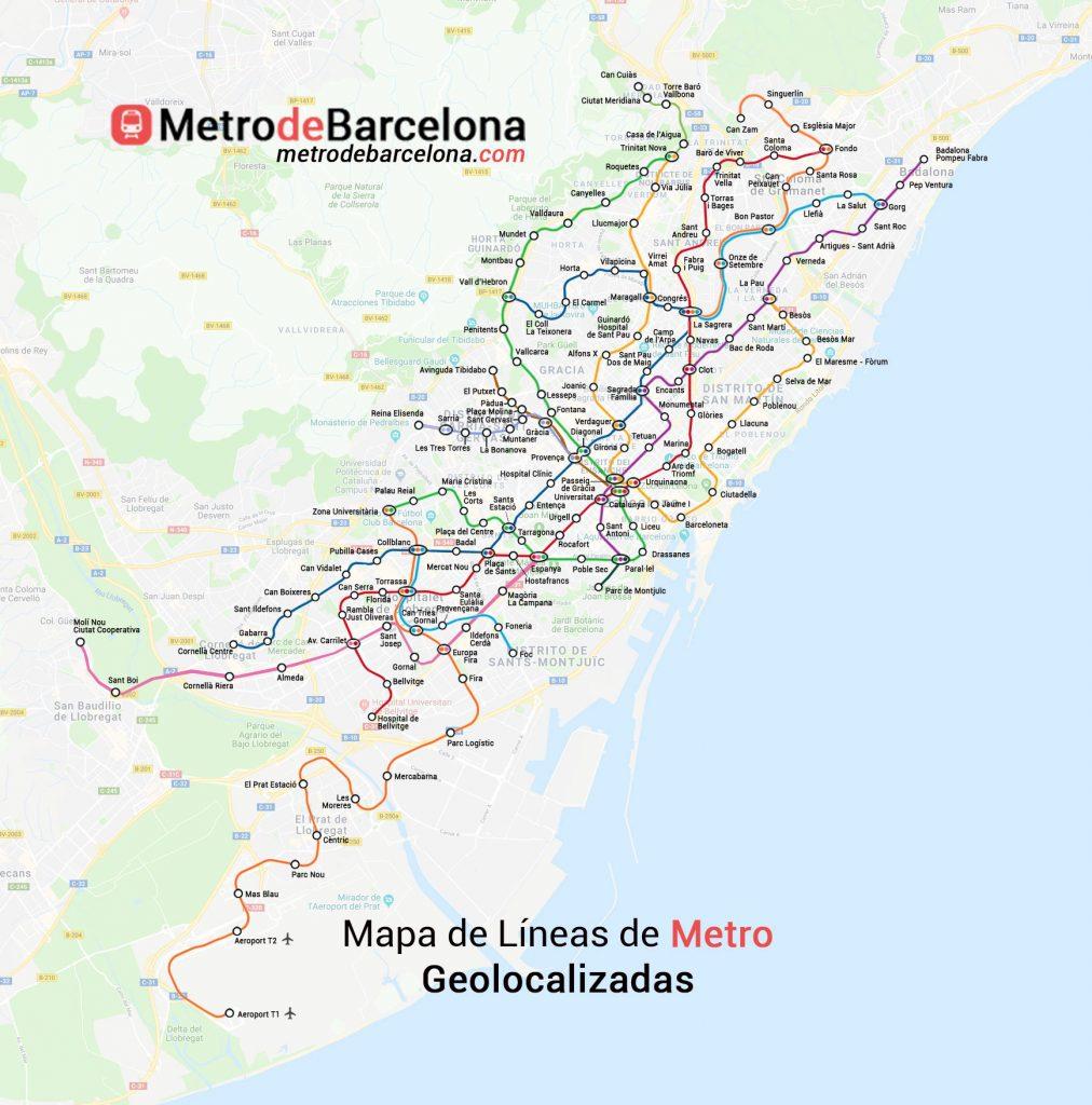 Mapas del metro de Barcelona Completo