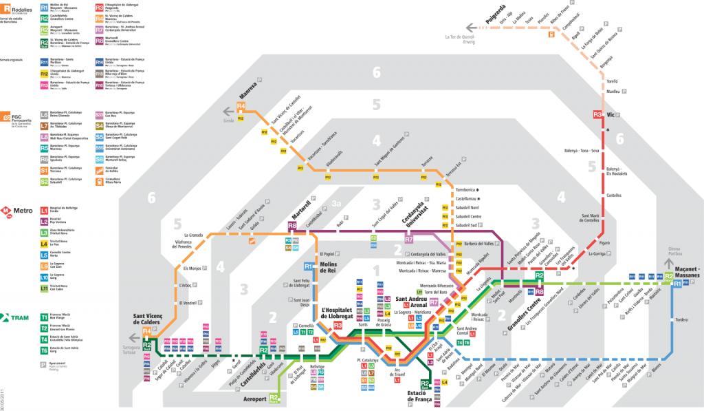 Todas las  zonas del metro de bcn ciudad